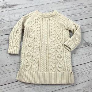 Gap Kid's Girl's Long Cableknit Sweater, Cream